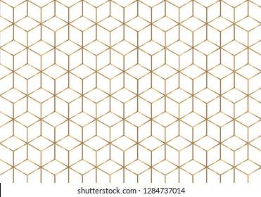 Golden outline geometric seamless pattern. Luxury style. vector illustration.