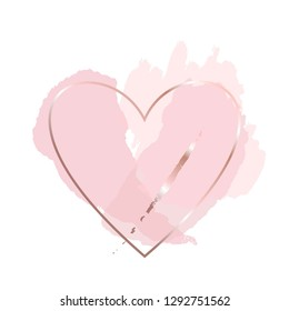 Golden outline heart, pink, nude, gold brush strokes on a white background.