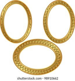 golden oval frame with ornaments