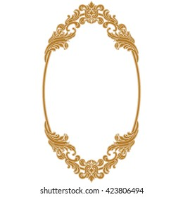 Golden oval vintage frame. Oval mirror. Oval border. Decorative frame. Invitation frame. Menu frame. Retro frame. Graphic frame. Vignette frame. Ellipse frame. Ornamental frame. Filigree frame. Vector