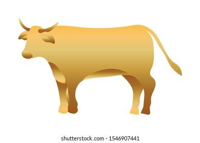 golden ox manger animal character vector illustration design