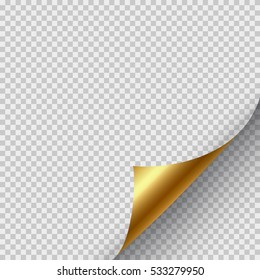 Golden page curl corner on blank sheet of paper. Turn paper sticker with flip edge isolated on transparent background. Vector web banner for your design.