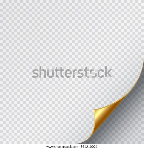 Golden Page Curl Corner On Blank Stock Vector (Royalty Free