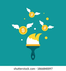 Golden paint brush and flying dollar coins on blue. designer, artist business success. Inspiration, creative work. Achieve goals, financial success, business income concept. Vector illustration