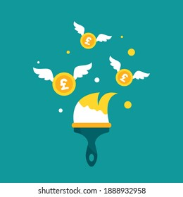 Golden paint brush and flying pound sterlings coins on blue. designer, artist business success. Inspiration, creative work. Financial success, business income concept. Vector illustration