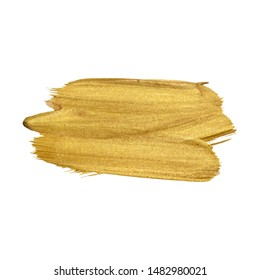 Golden paint brush stroke on white background. Vector illustration. Gold yellow paint vector textured abstract brushes