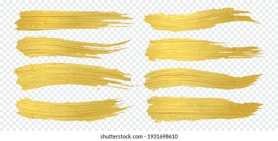 Golden paint. Realistic gold brush smudges. Yellow metallic smears on transparent background. Isolated decorative glittering brushstrokes set. Luxury horizontal shiny splashes. Vector foil texture