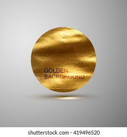 Golden paint stain banner. Vector gold paint. Abstract glittering textured stain. Vector illustration of a golden foil banner or label