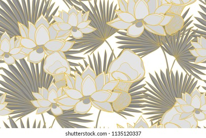 Golden palm leaves and lotus flowers. Big leaves and exotic flowers composition. Vector illustration. Botanical seamless wallpaper. Digital nature art. Cartoon style sketch. White background.