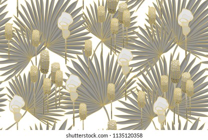 Golden palm and tumeric flowers. Big leaves and exotic flowers composition. Vector illustration. Botanical seamless wallpaper. Digital nature art. Cartoon style sketch. White background.