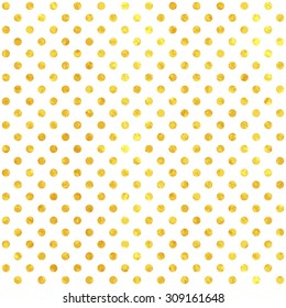 Golden paper polka dot vector seamless pattern