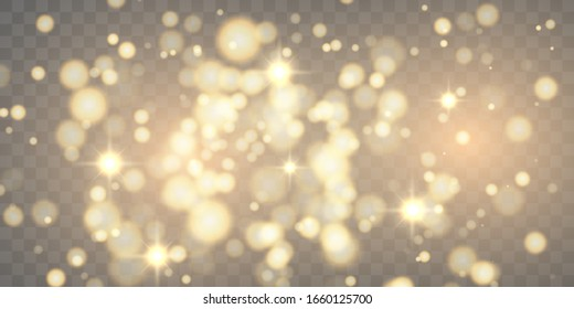 Golden particles glow light effect. Glowing yellow powder splash circles. abstract gold bokeh luxury background. Magic mist glowing on Transparent background.