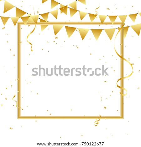 golden party flags and confetti with border frame for celebration new year 2018 background