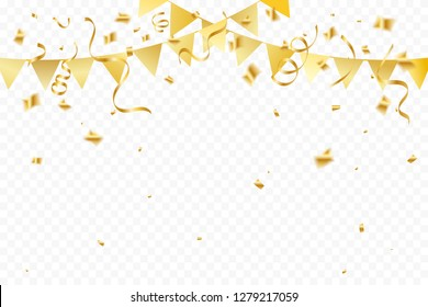 Golden Party Flags With Confetti And Ribbons Falling On Transparent Background. Celebration Event & Birthday. Vector