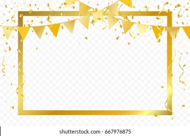 Golden Party Flags With Frame And Confetti Ribbons Falling On Transparent Background. Celebration Event & Birthday. Vector