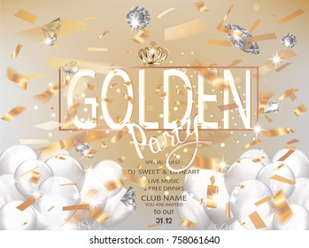 Golden party with flying confetti and diamonds. Vector illustration