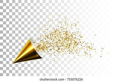 Golden party popper with spraying confetti particles isolated on white background. Vector realistic illustration of paper cone and tinsel. Festive decoration element. Birthday, holiday event attribute