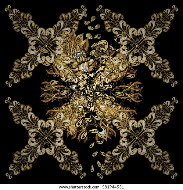Golden pattern on black background with golden elements. Classic vintage background. Traditional orient ornament. Classic vector golden pattern.