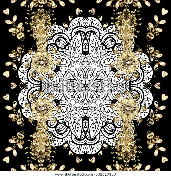 Golden pattern on black background with golden elements. Seamless classic vector golden pattern. Classic vintage background. Traditional orient ornament.