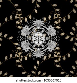 Golden pattern on black, white and yellow colors with golden elements. Ornate vector decoration. Seamless damask pattern background for wallpaper design in the style of Baroque.