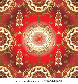 Golden pattern on brown and red colors with golden elements. Vector golden seamless pattern. Flat hand drawn vintage collection. Backdrop, fabric, gold wallpaper.