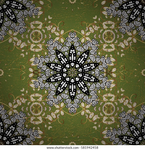 Golden pattern on green background with golden elements. Ornate vector decoration. Damask pattern background for wallpaper design in the style of Baroque.