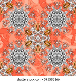 Golden pattern on pink petals background with golden elements. Seamless classic golden pattern. Vector traditional orient ornament.
