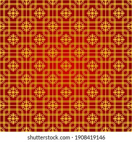 Golden Pattern Oriental Ornament with Red Background