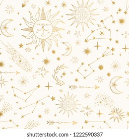 Golden pattern with shooting stars, comets, cute sun and moon.