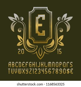 Golden patterned monogram template in beautiful wreath frame with vintage alphabet with numbers.