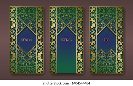 Golden patterned packaging design. Set of labels templates with arabian vintage ornament frames.