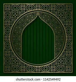 Golden patterned sacral frame in oriental style. Vintage cover background or packaging design.