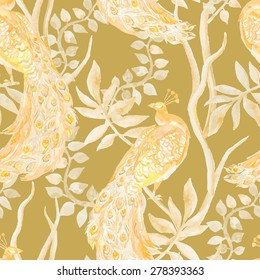 Golden Peacock. Beautiful peacock pattern. Tropical seamless pattern. Vector. Peacocks and plants.