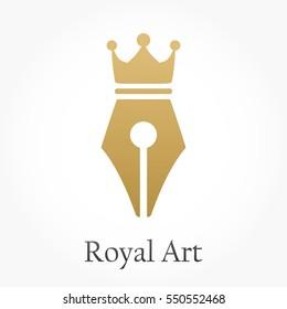 golden pen nib or pen tip with a crown on the top for royal art logo vector