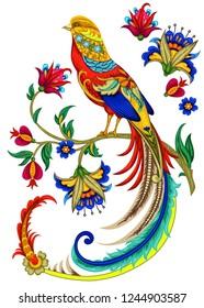 Golden pheasant. Embroidery stylization