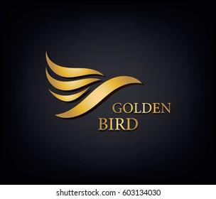 Golden Phoenix, bird brand, animal logo,luxury brand identity for hotel fashion and sports brand concept. Vector design, company identity