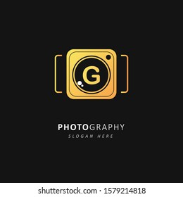 Golden Photography logo with initial letter g, vector illustration symbol template