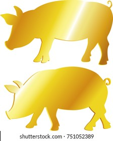 golden pig symbol abundance, prosperity - vector illustration