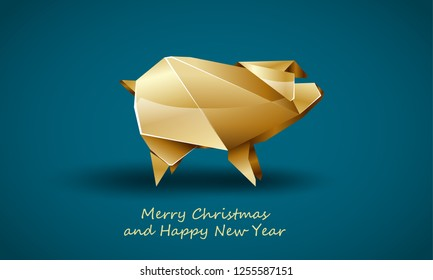 Golden Pig as a Symbol of Chinese New Year. Vector Polygonal Pig on Soft Blue Background as Invitation Template for New Year Party.