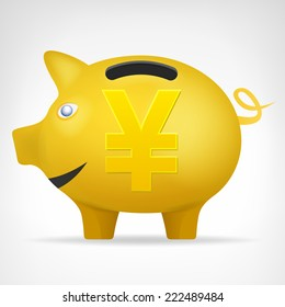 golden pig treasure in side view with Yen symbol vector isolated illustration