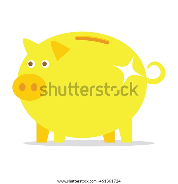 golden piggy bank isolated on a white background. Vector illustration.