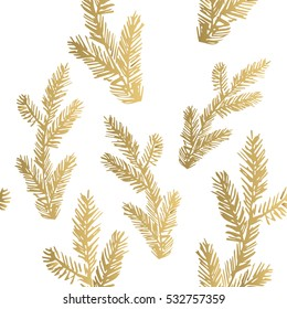 Golden pine branch background. Vector illustration. Seamless pattern.
