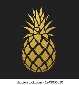 Golden pineapple silhouette on black background, vector design