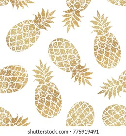 Golden pineapples seamless vector pattern on transparent background.