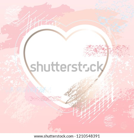 Golden Pink Art Heart Frames Modern Stock Vector Royalty Free