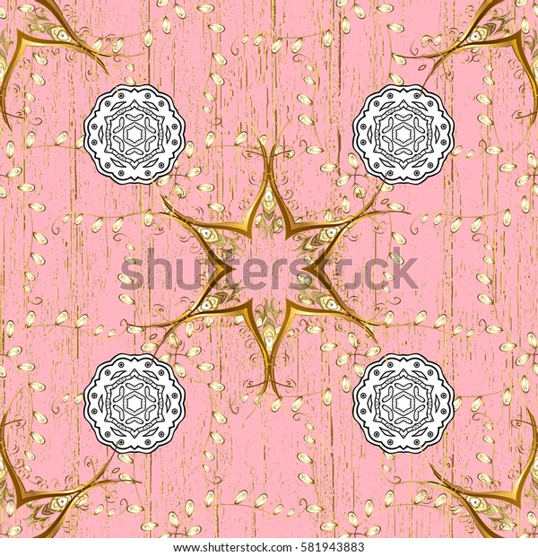 Golden pink floral ornament in baroque style. Antique golden repeatable wallpaper.Golden element on pink background. Damask pattern repeating background.