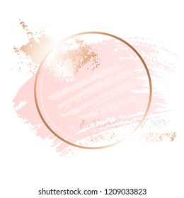 Golden pink nude art frames. Modern card design, brush stroke, lines, points, gold, premium brochure, flyer, invitation template. Beauty identity elegant style. Hand drawn vector.