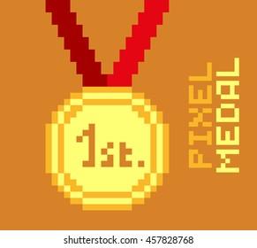 Golden pixel medal, 1st place, pixelated illustration. - Stock vector