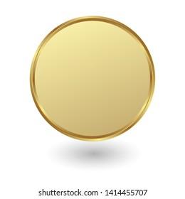 golden plate on white background
