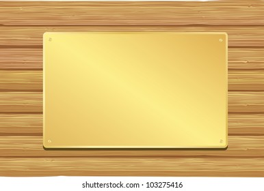 Golden plate on wooden background. Vector